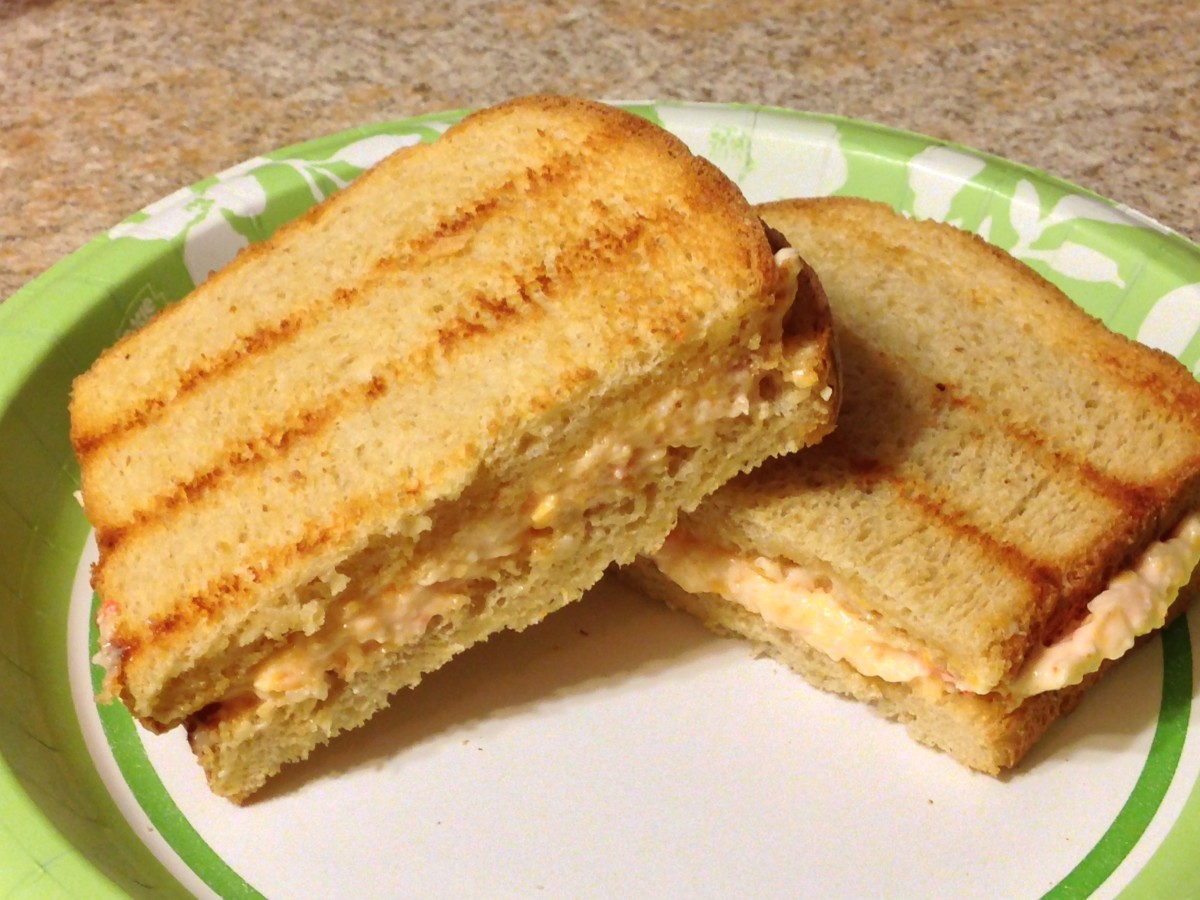 Toasted Pimento Cheese Sandwich, made with cheddar and mozzarella
