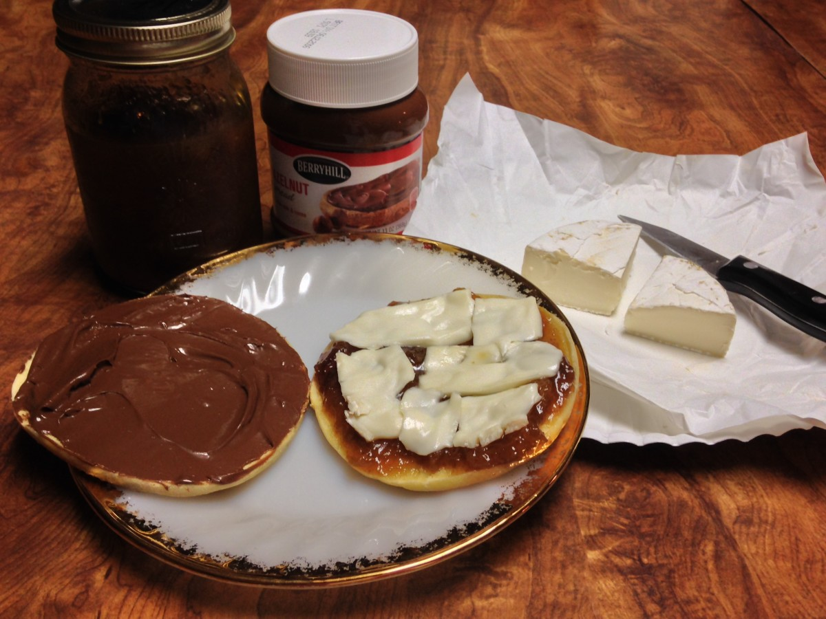 Mom's homemade fig preserves, brie, and hazelnut spread with cocoa