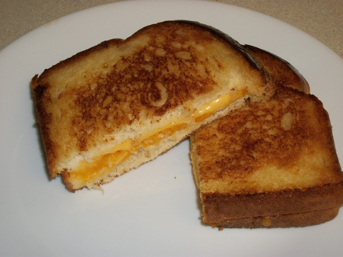 Cheese sandwich with cheddar and American cheese, fried in coconut oil