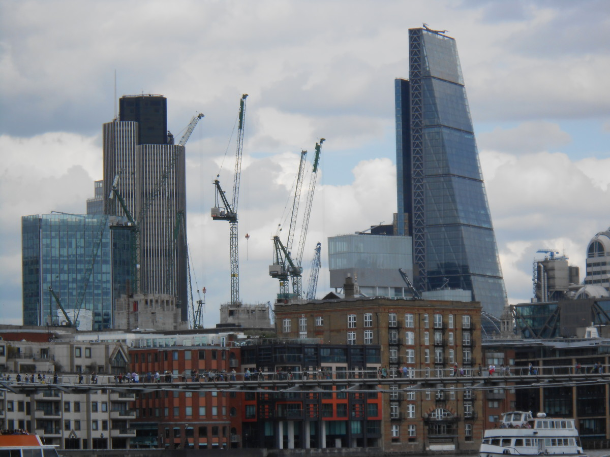 """122 Leadenhall Street (""""The Cheesegrater"""") is a major development involving British Land and is based on a design by Richard Rogers and his partners. This is the view from the Tait Modern."""