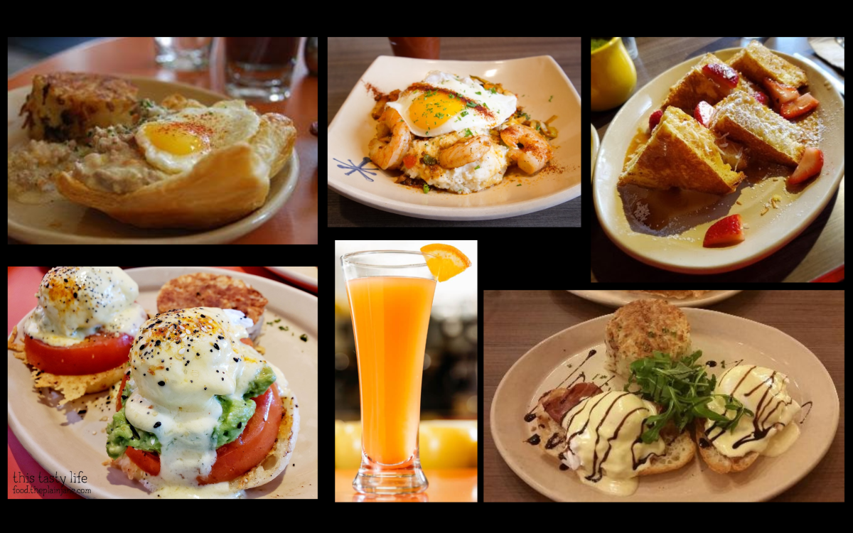 Jackie's Snooze favorites: Breakfast Pot Pie, Shrimp and Grits, Bella! Bella! Benny, OMG! French Toast, Smashed Avocado Benny, MM MM Mimosa