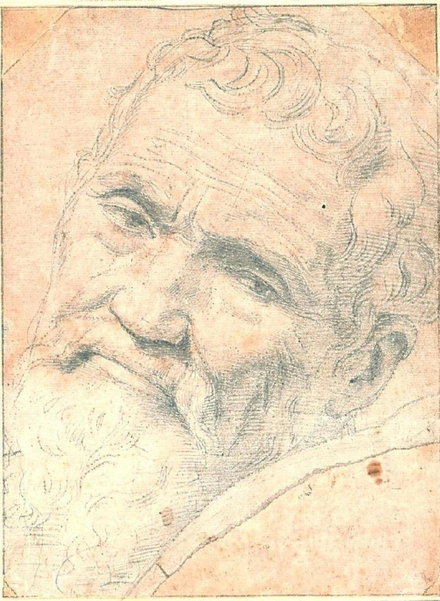 CHALK PORTRAIT OF MICHELANGELO BY VOLTERRA
