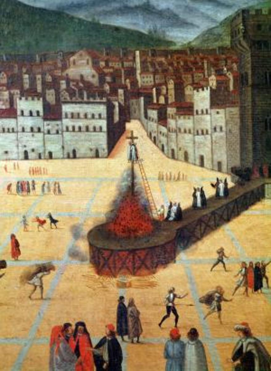 SAVONAROLA BEING BURNT AT THE STAKE