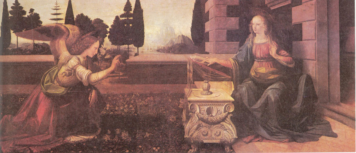 "EARLIEST COMPLETED WORK OF LEONARDO DA VINCI ""THE ANNUNCIATION"" (1475)"