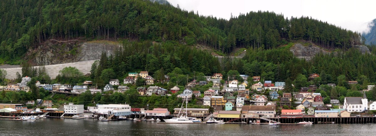 Ketchikan's Newtown neighborhood, between Downtown and the West End, its two largest neighborhoods. First Lutheran Church, at the right edge of this photo, is listed on the National Register of Historic Places.