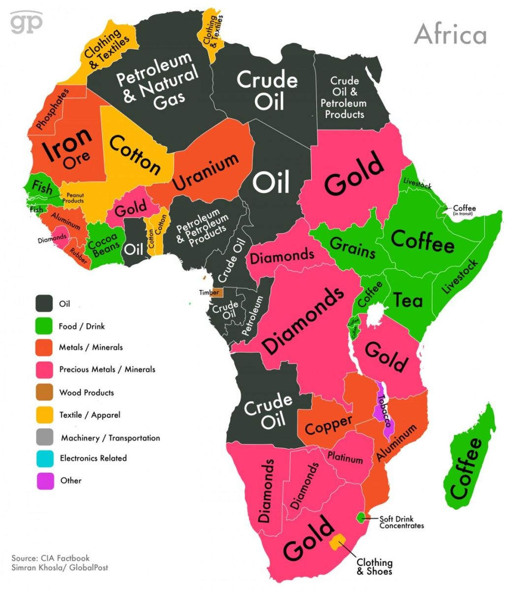 Africa is extremely rich in natural resources, particularly precious metals and oil