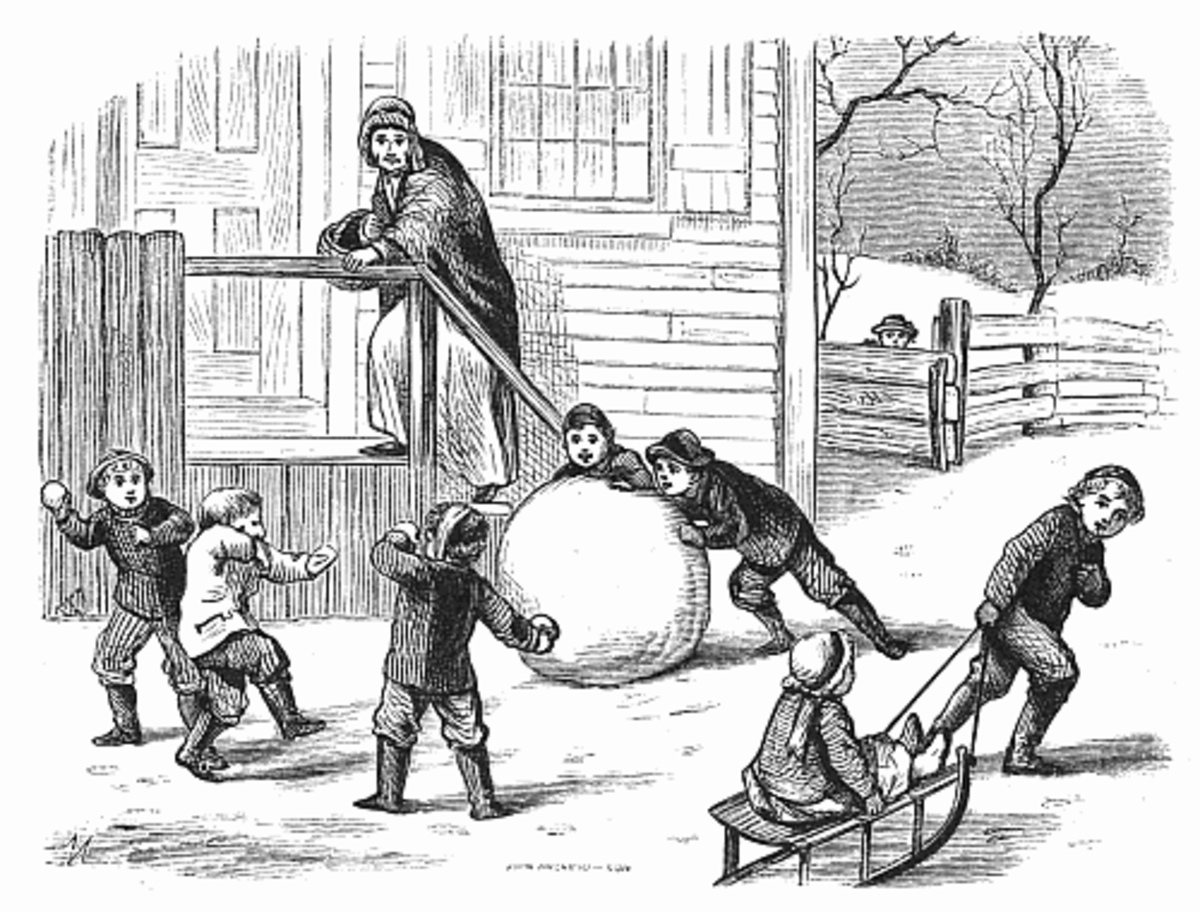 Playing in the snow, making snowballs, snowmen, and sledding is so fun!  I loved this drawing, and all it depicts.  Public Domain.