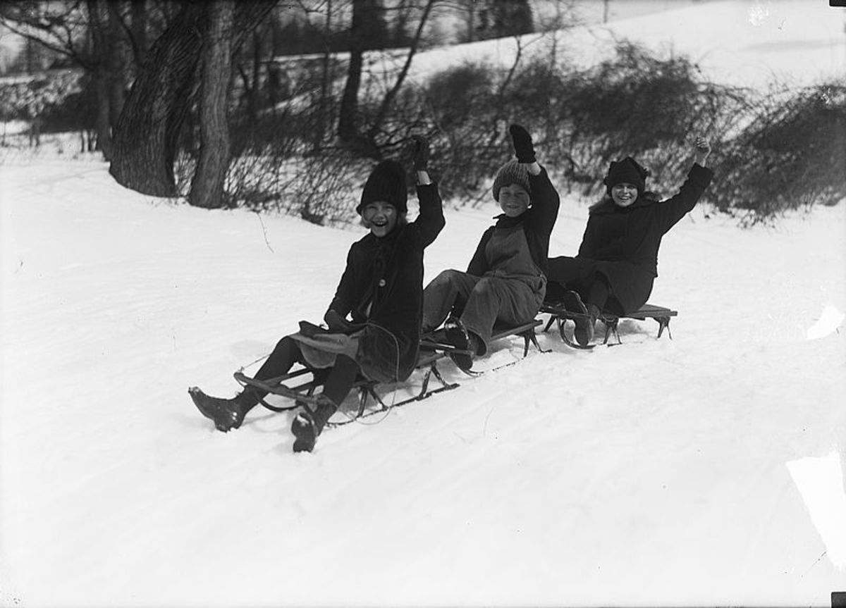 This isn't a picture of us, but it was similar to this!  My sister and friend Trent were all sledding together.  It was such a happy time!