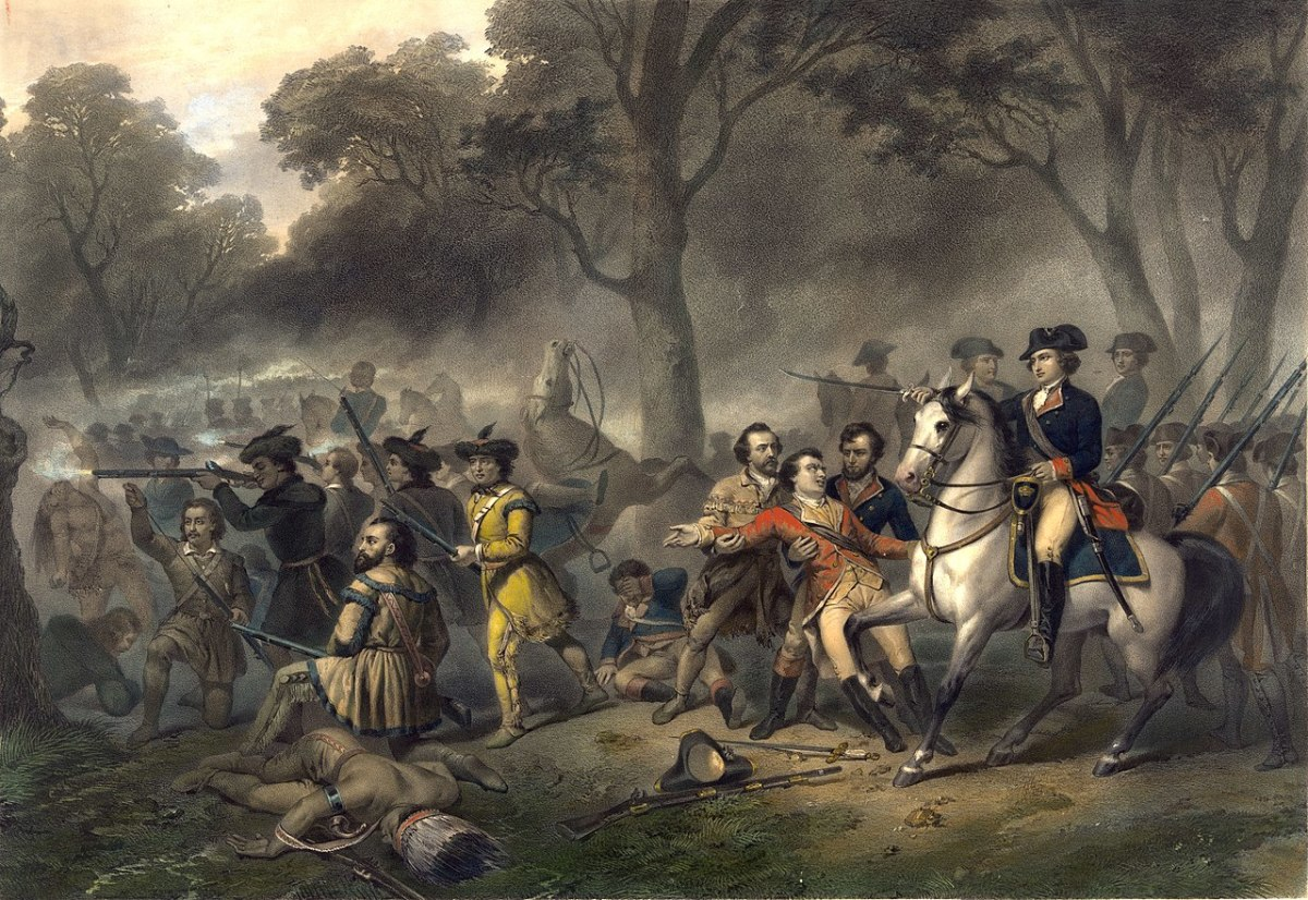 George Washington on horseback rallying the troops after the fall of General Braddock at the Battle of Monongahela.