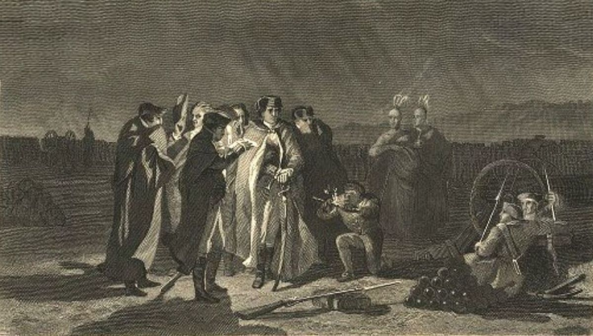 Washington and his men in night council at Fort Necessity.