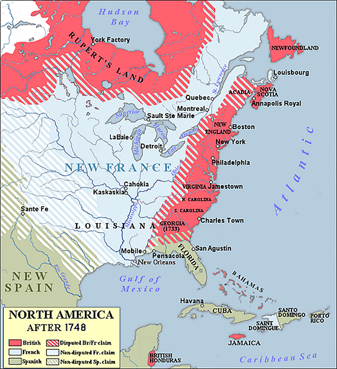 Map of North America after 1748.