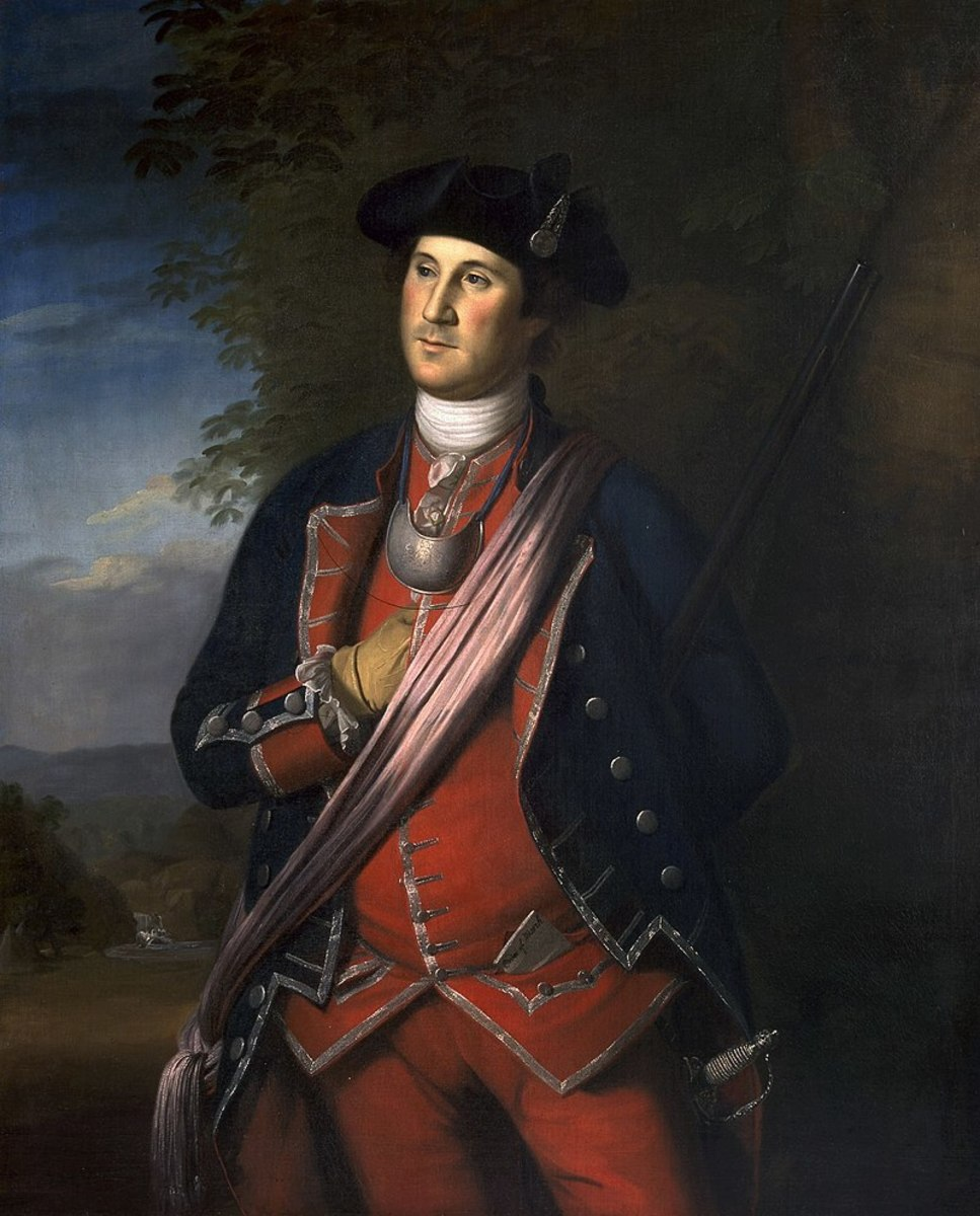 George Washington in his uniform as a British Colonial Colonel during the French and Indian War, by Charles Willson Peale, 1772.