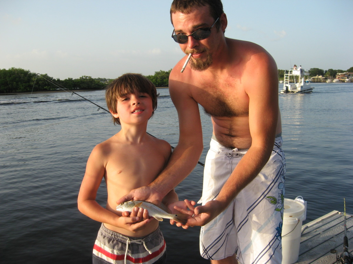 The kids enjoyed catching small redfish.