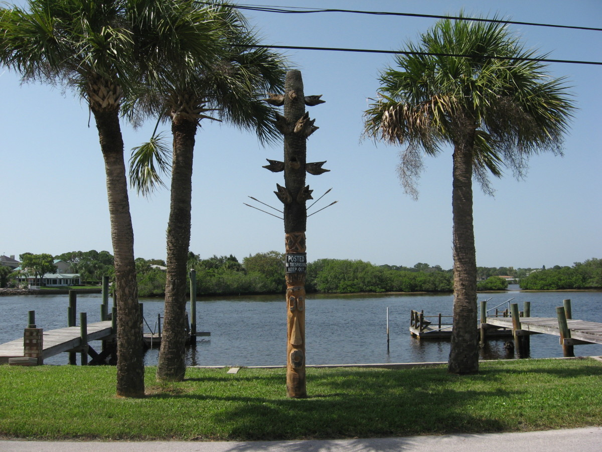A totem to the saltwater fishing gods near our dock. Notice the huge heads from fish caught from the Cotee River.
