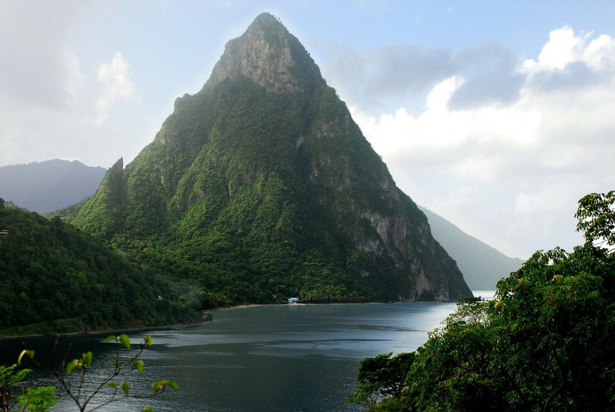 One of the Pitons of St. Lucia, where I sailed in my small boat.