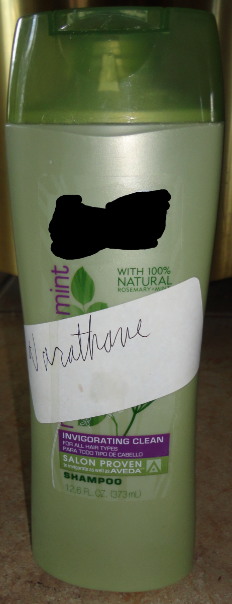 A bottle or container (preferably opaque) can be used to store small amounts of Varathane at a time.
