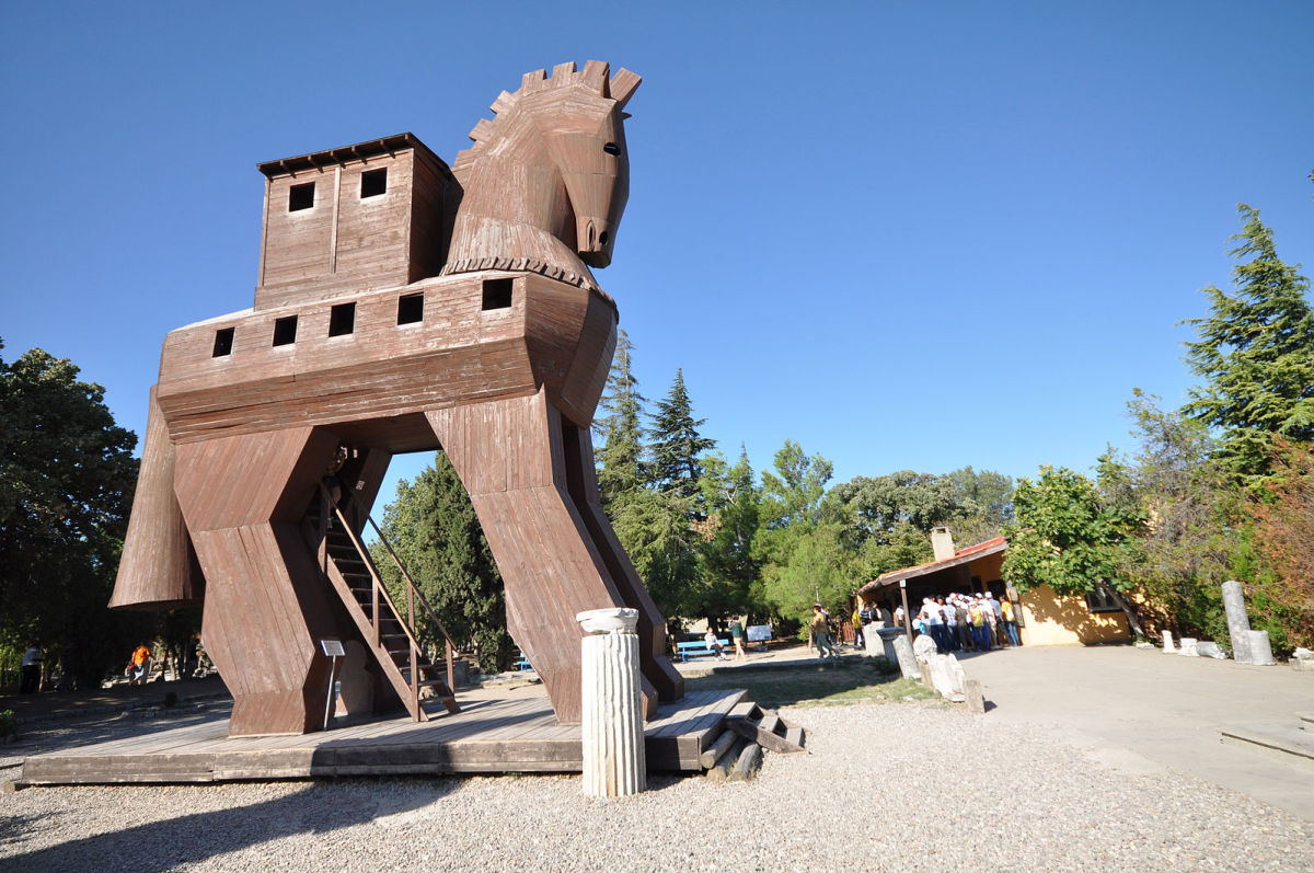 The Trojan horse was used by the Greeks to clandestinely get their men inside Troy's city walls.