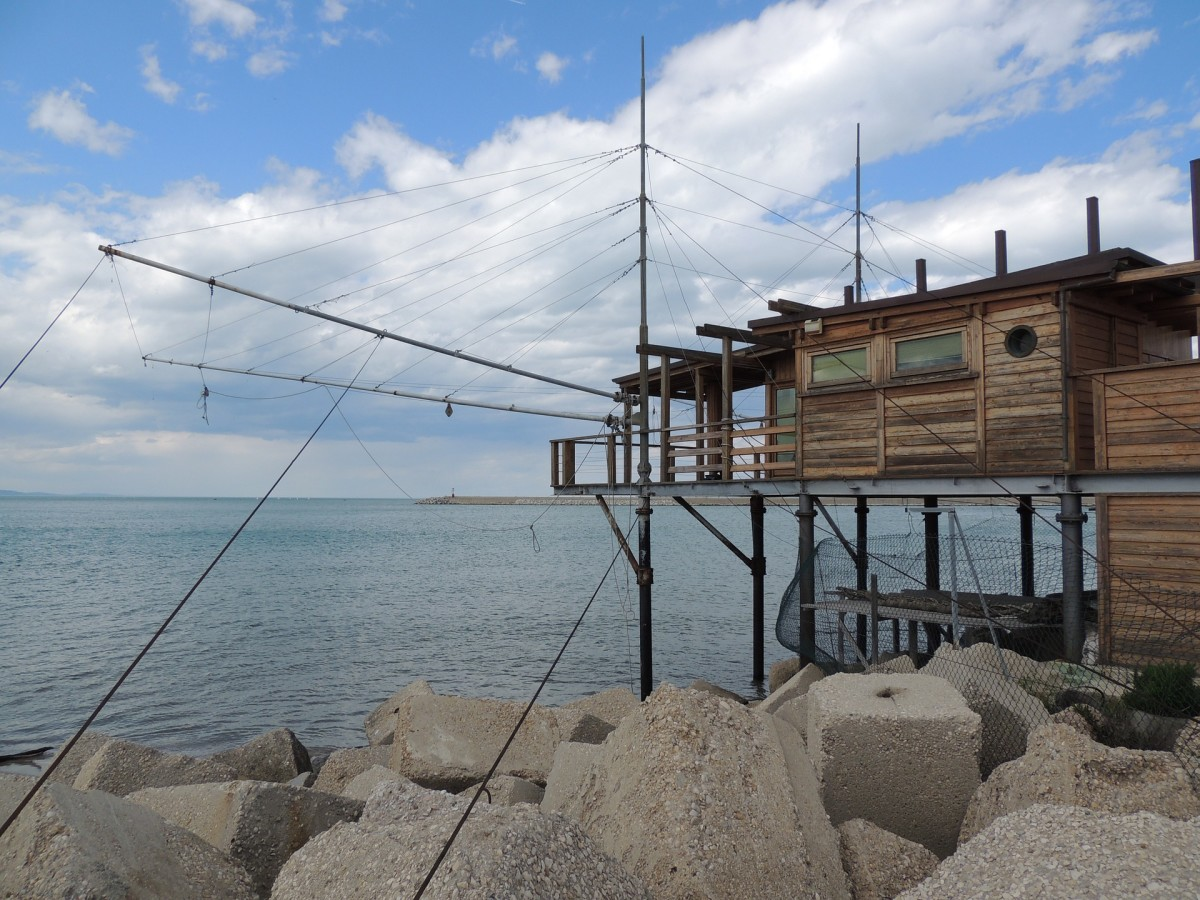 Trabocchi, like the one pictured, dot the coastline along the Adriatic south of Pescara