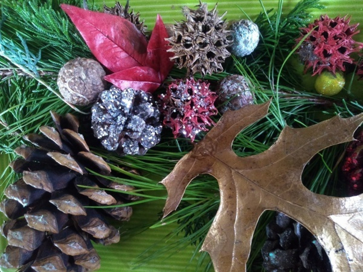 Sweetgum balls and pinecones are great materials to use when creating rustic, woodsy holiday decorations.
