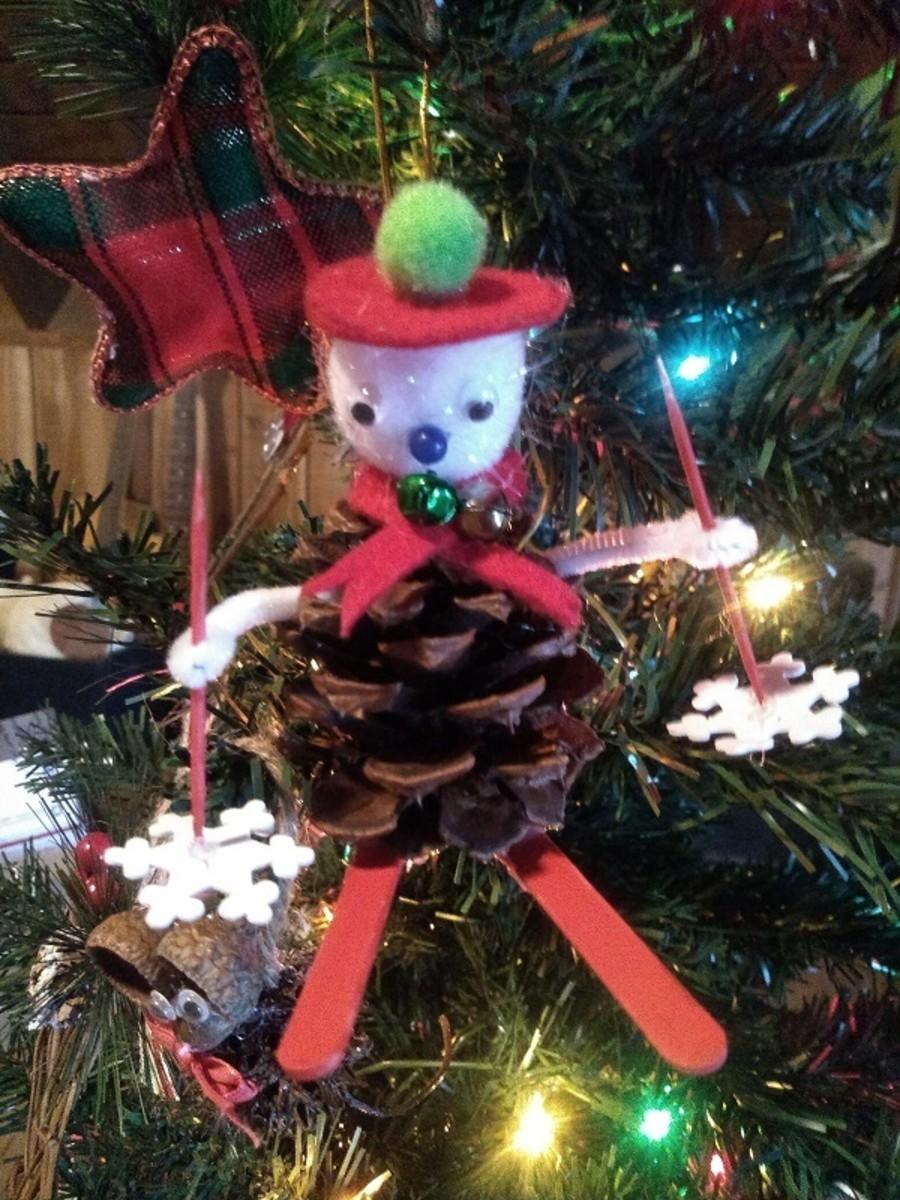 Pinecone Snowman Skier Ornament