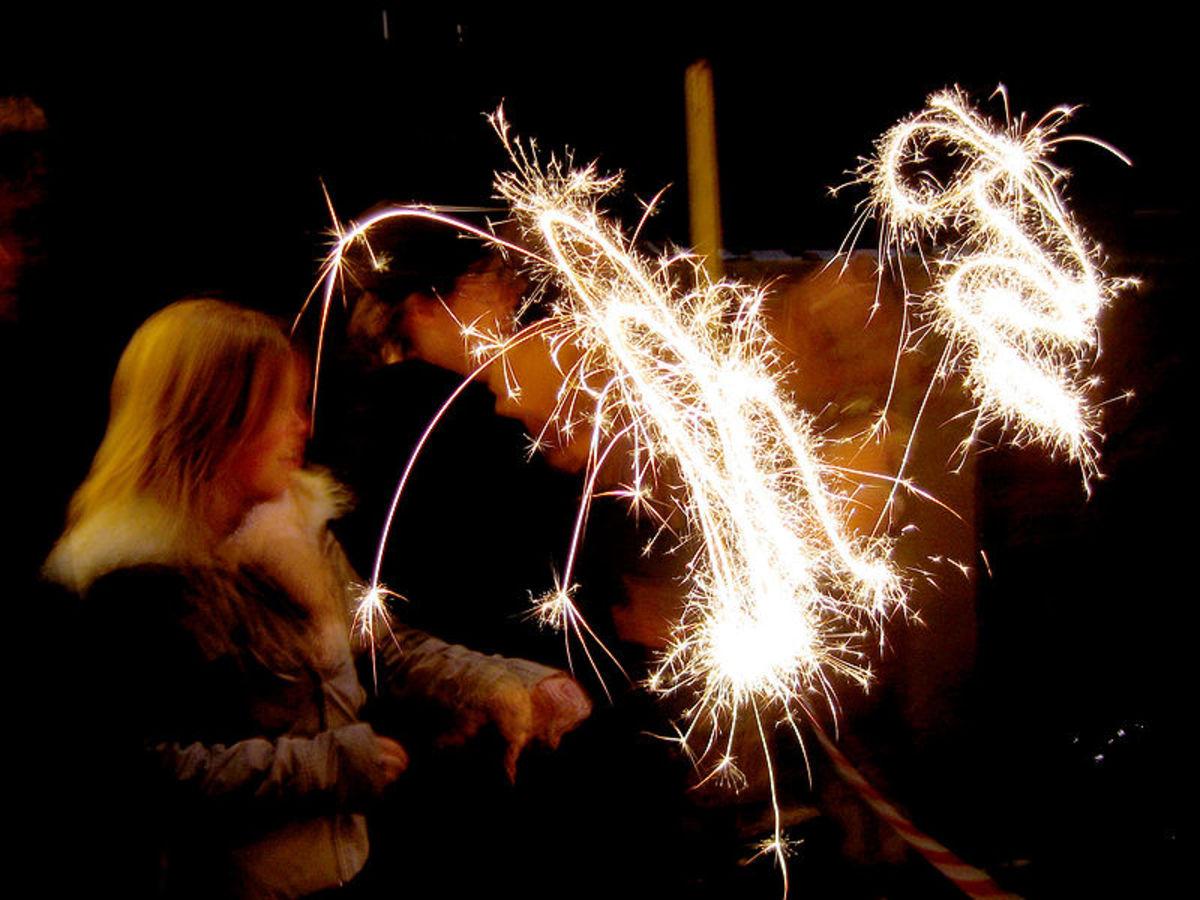 Children enjoying the magic of sparklers