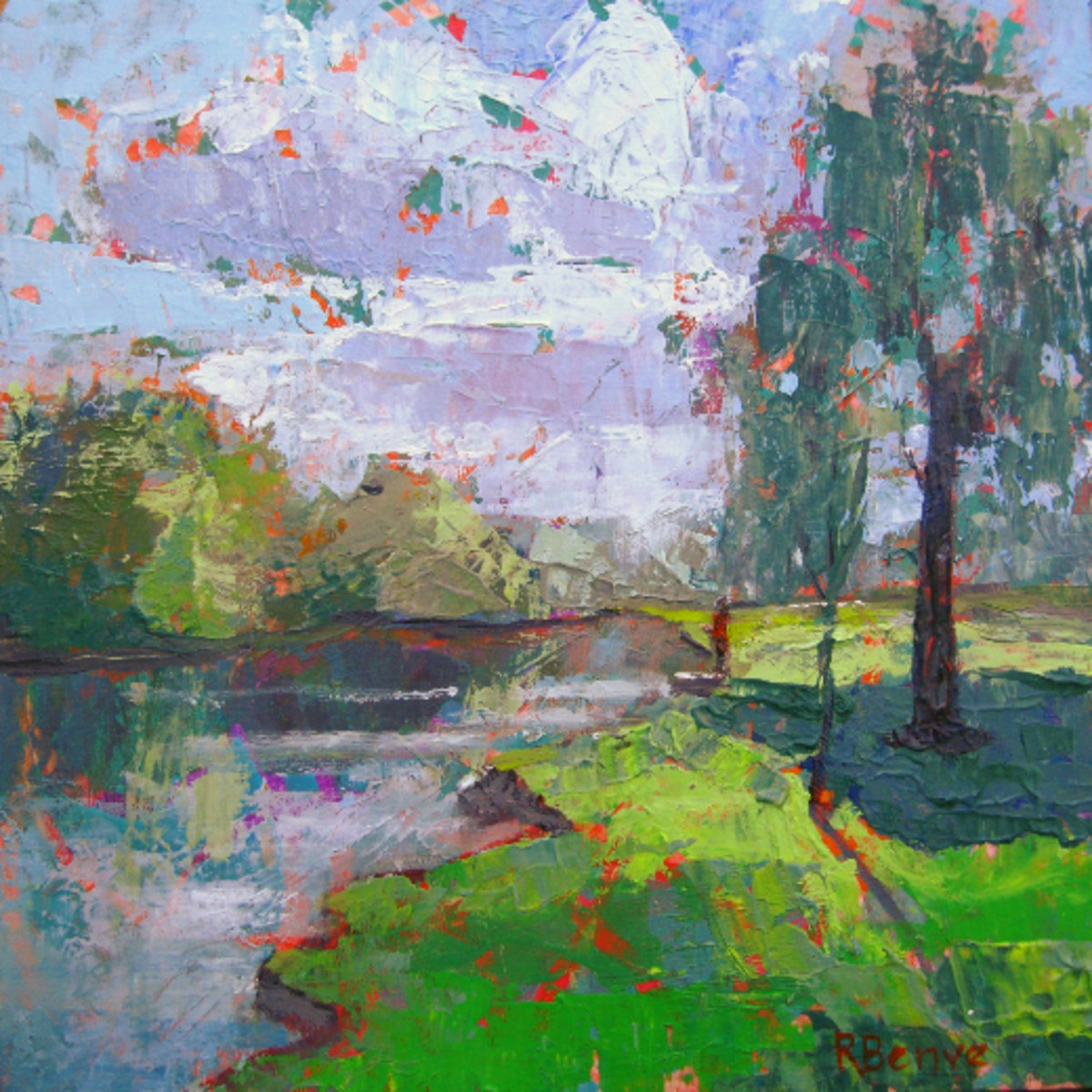 A mixed media painting that I have done loosely interpreting the photo reference, trying to work fats to keep the acrylic edges soft and the red ground peeking through. Spring River, by Robie Benve.