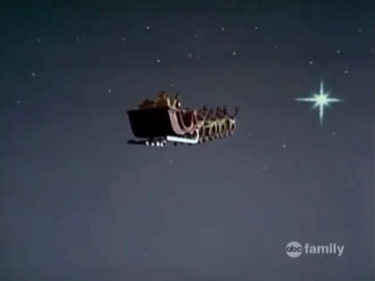 Santa Claus flying toward the Christmas Star on his first annual flight.