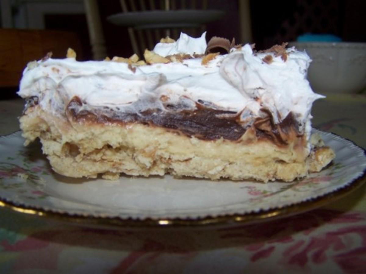 Delicious Peanut Butter Torte With Cool Whip, Pudding and Cream Cheese.