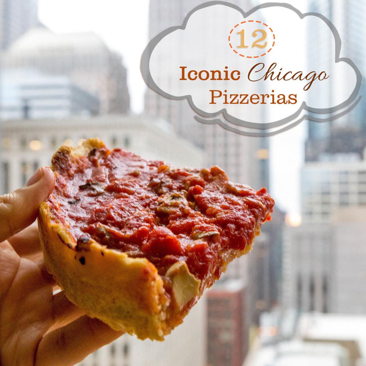 Slice of Pizzeria Uno deep dish pizza overlooking Chicago
