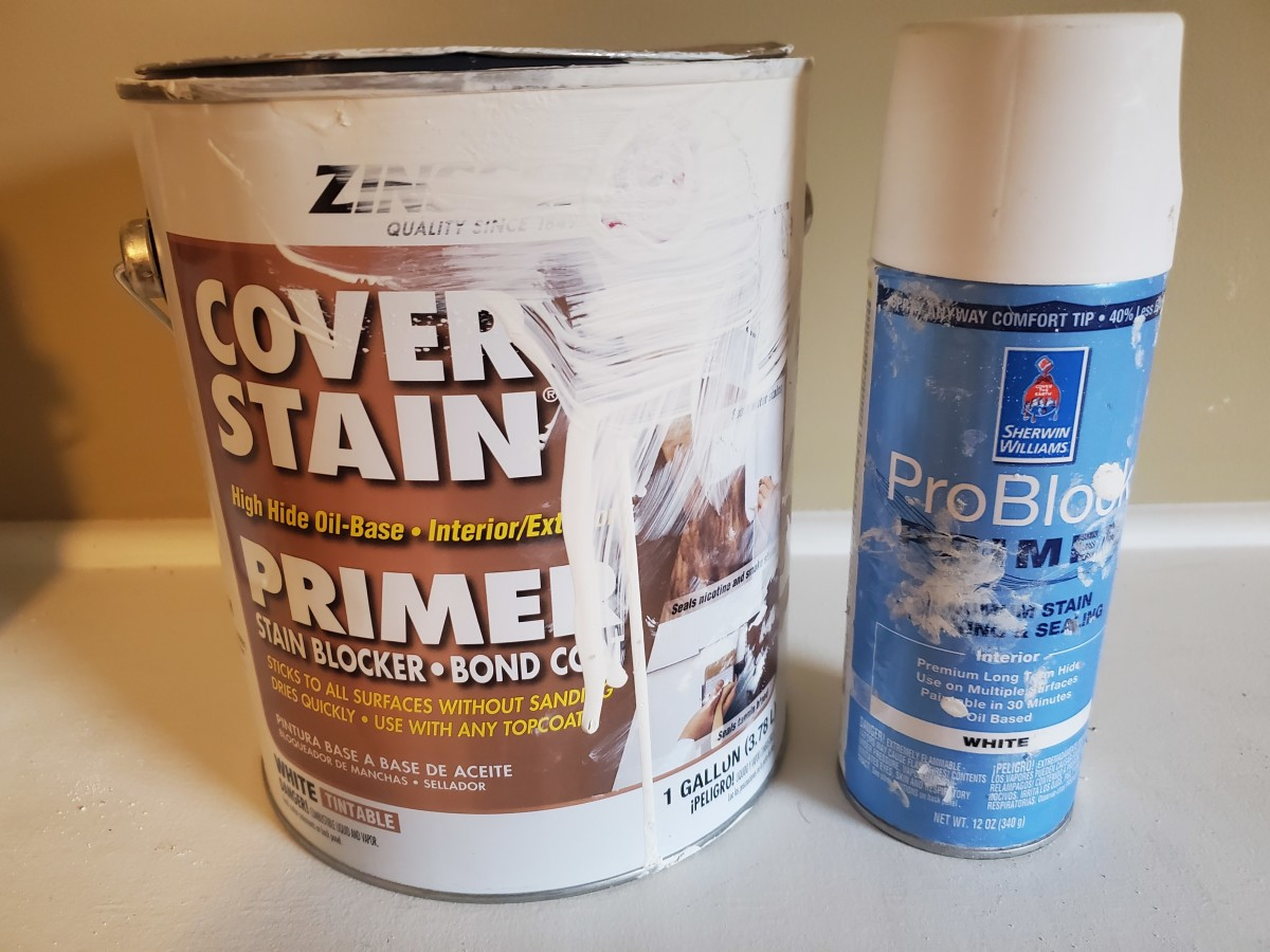 The products I use when priming stained wood with a brush.