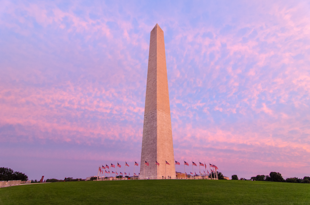 The Washington Monument in Washington, D.C., at sunset.