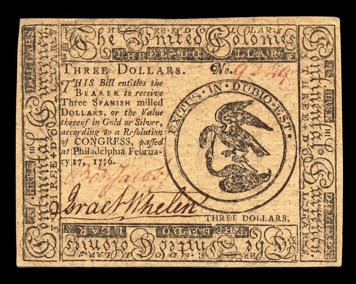 1776 $3 Continental currency.