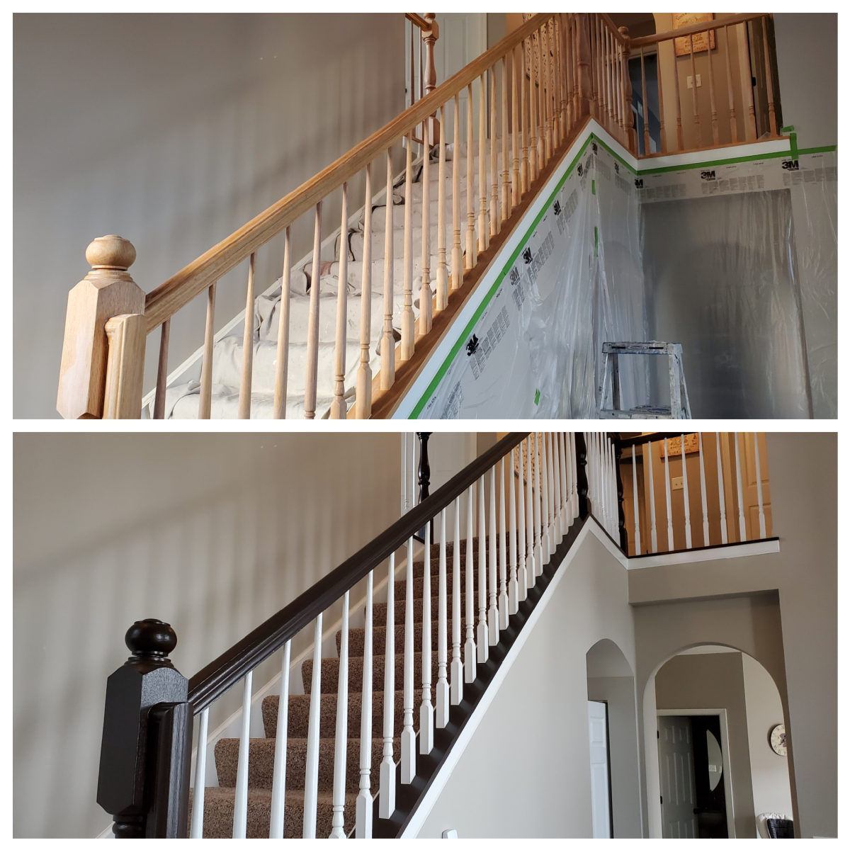 Staircase spindles and railing I painted.
