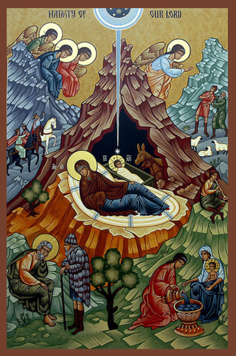 "An icon (religious painting) from the Orthodox Church. Icon of the Orthodox Nativity or ""Little Christmas"" or ""Twelfth Night."""