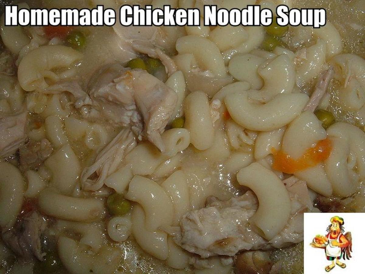 Here's another version of Chicken Noodle Soup. This version is made with vegetables, chicken meat, elbow macaroni noodles and chicken stock. Kids really love this version.