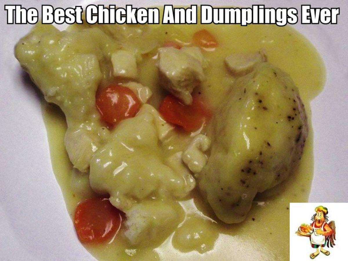 Here we have some of the most delicious chicken and dumplings that you will ever eat. Can you guess what the secret ingredient in these chicken and dumplings is.