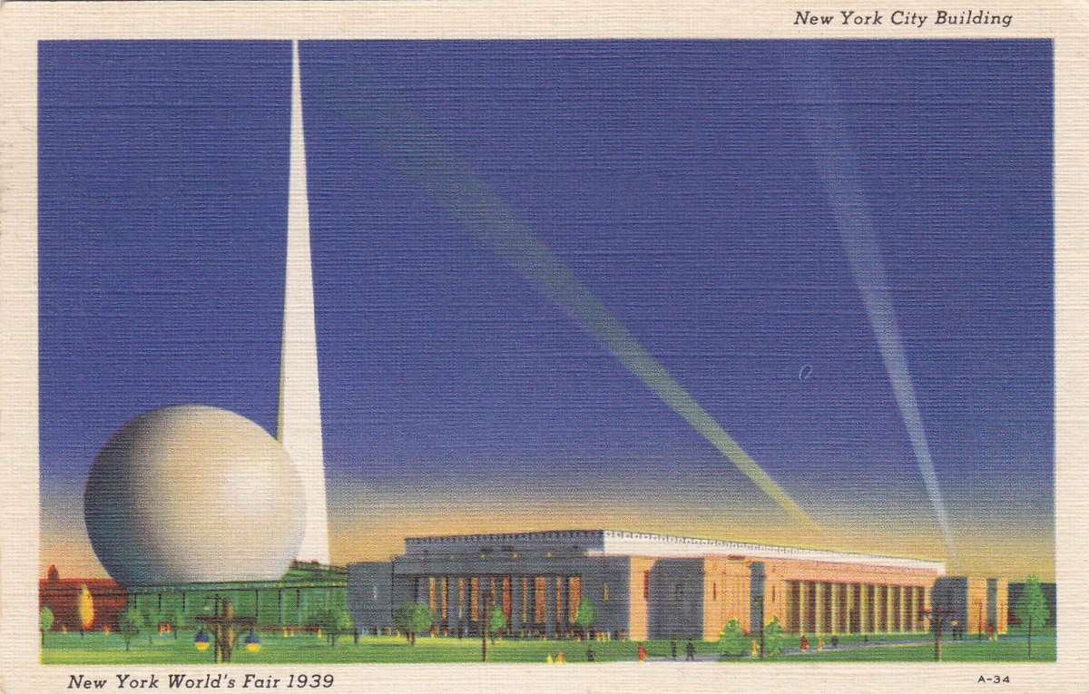 Trylon and Perishere postcard from NY World's Fair, 1939, which introduced space flight and TV