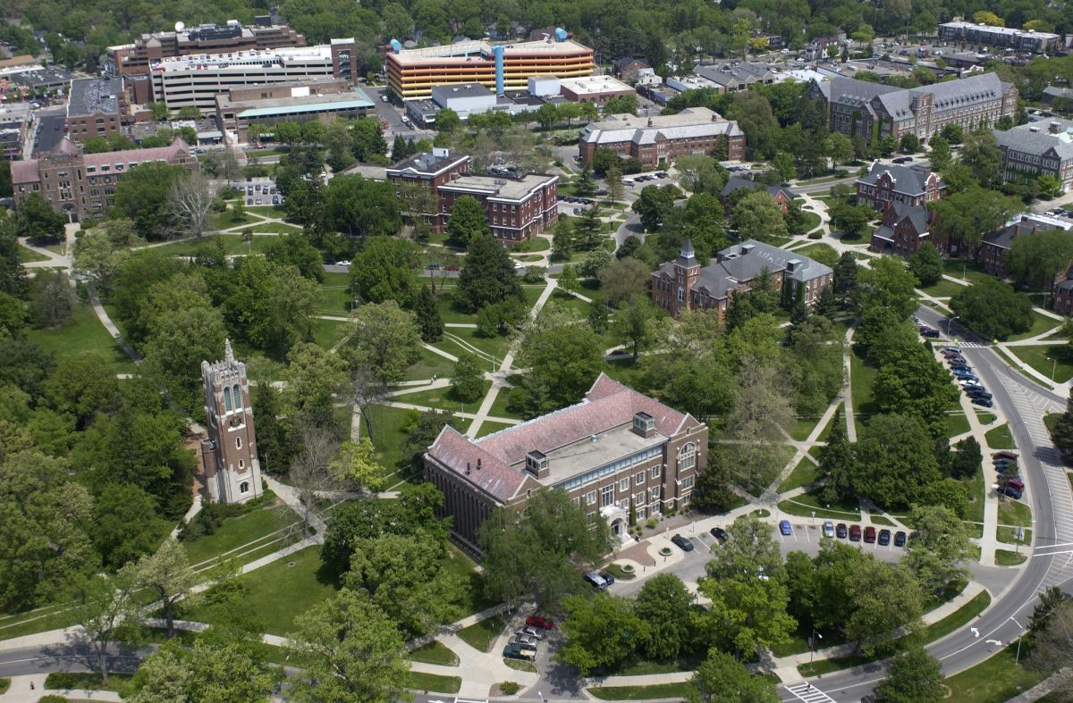 Aerial view of MSU campus-out of this view are more than five thousand contiguous acres for a possible world's fair?