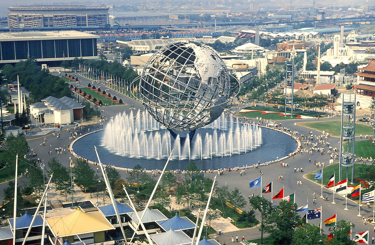 NY1964 World's Fair-- showing Unisphere-- that introduced Ford Mustang and AT&T Picturephone service- still not with us but getting there with Broadband Superhighway