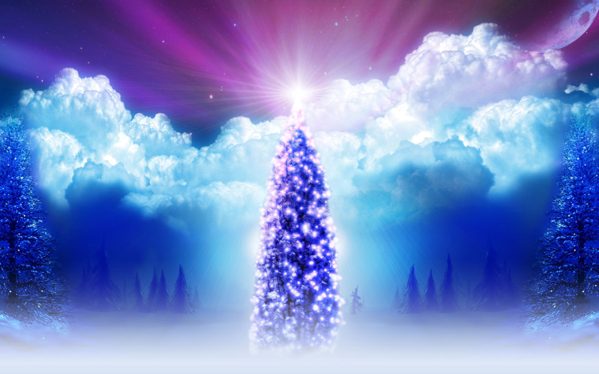 Christmas Tree Fantasy Wallpaper and Clouds