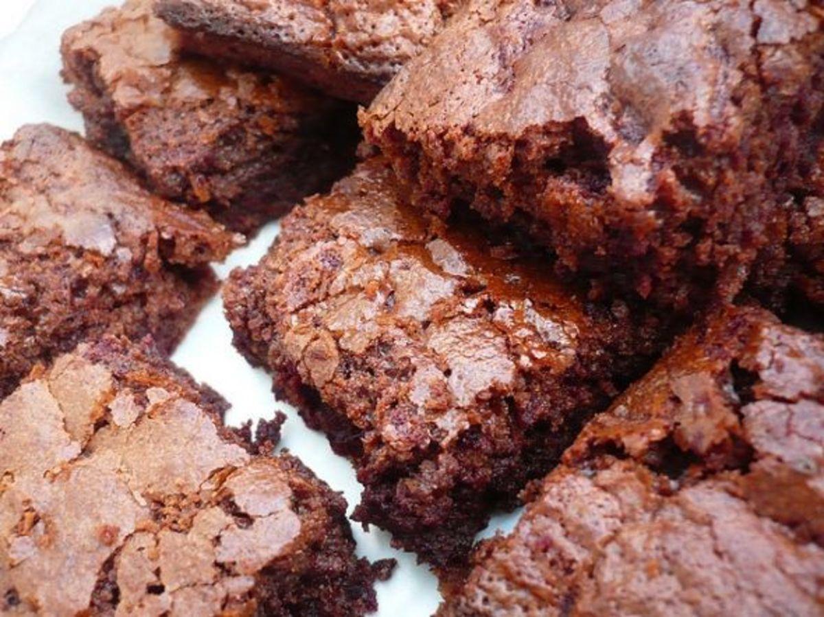 Freshly baked fudge brownies