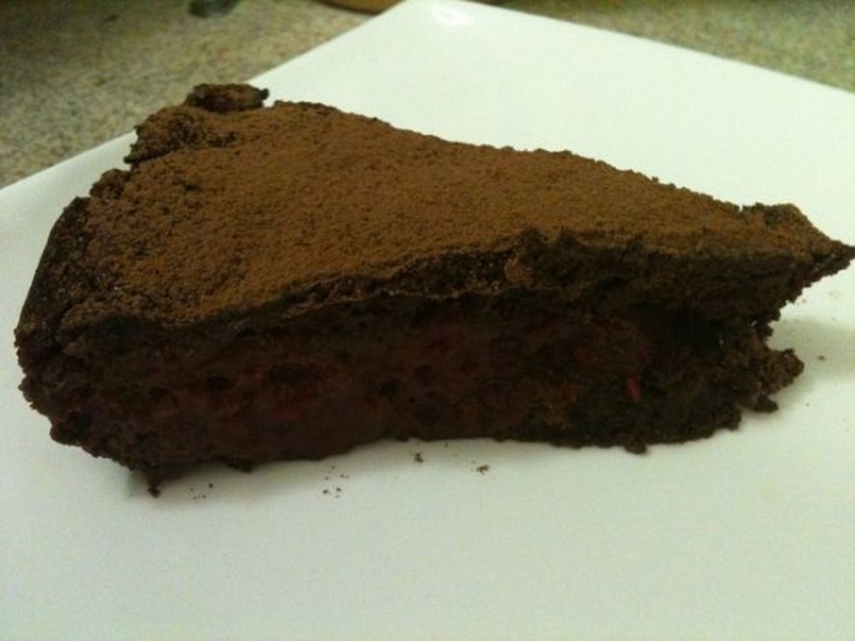 A slice of chocolate truffle torte