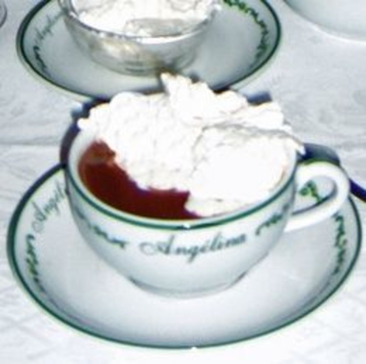 A cup of the world-famous hot chocolate l'Africain at Angelina café in Paris.
