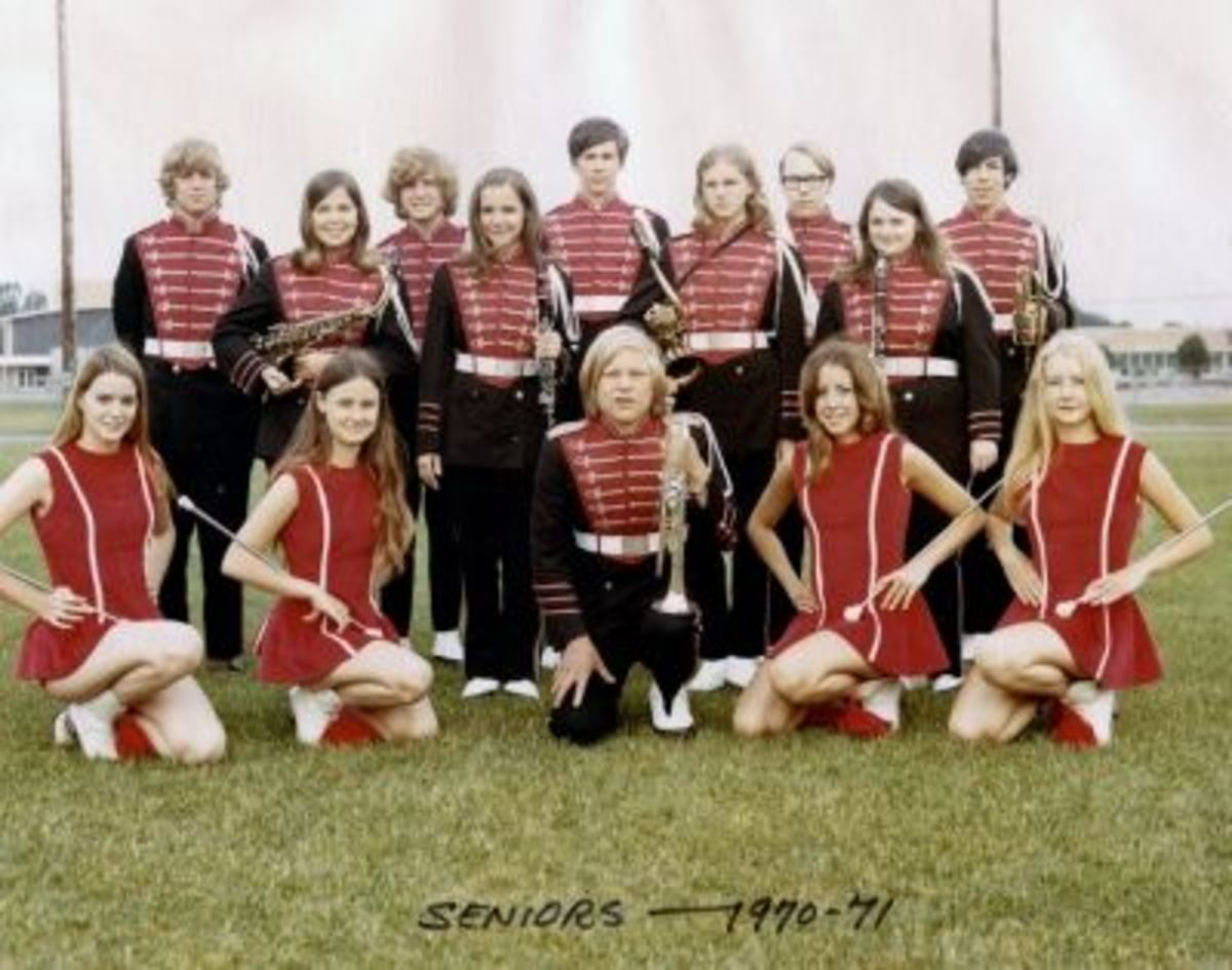 Home Sewing at It's Best- I was a Majorette (2nd from the left) we sewed our own uniforms