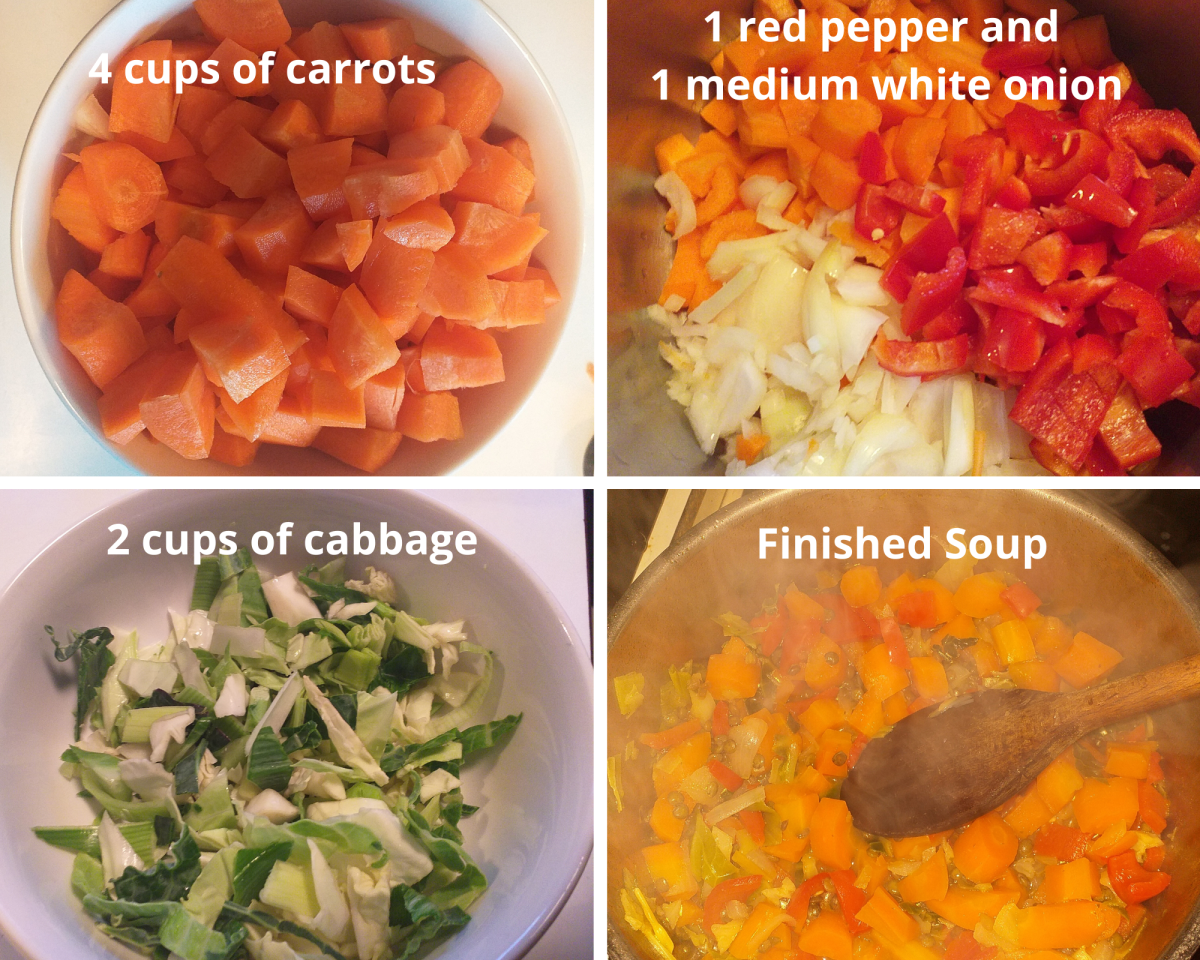 How to prepare and cook the vegetables for your carrot soup.