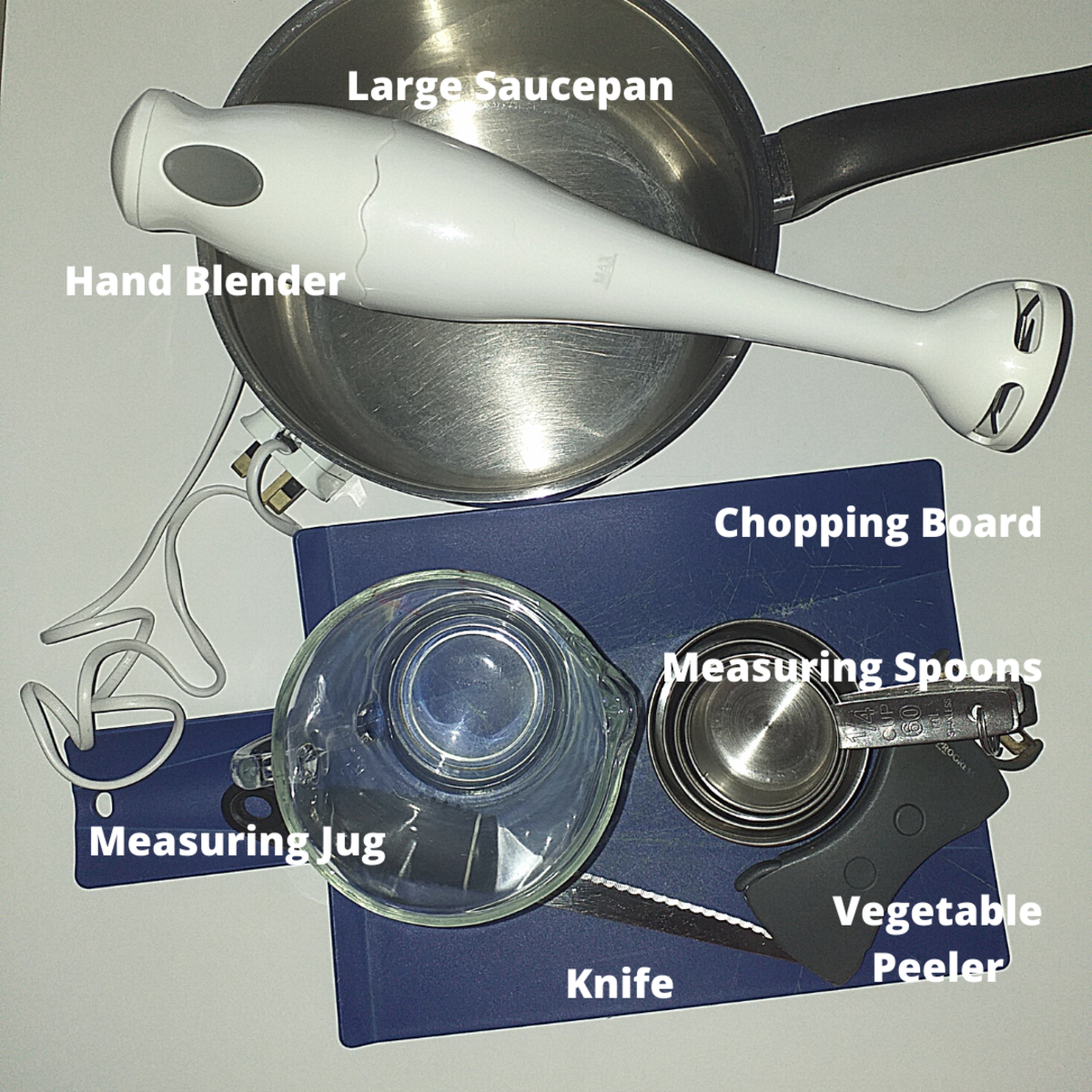 List of equipment you need for making your soup.
