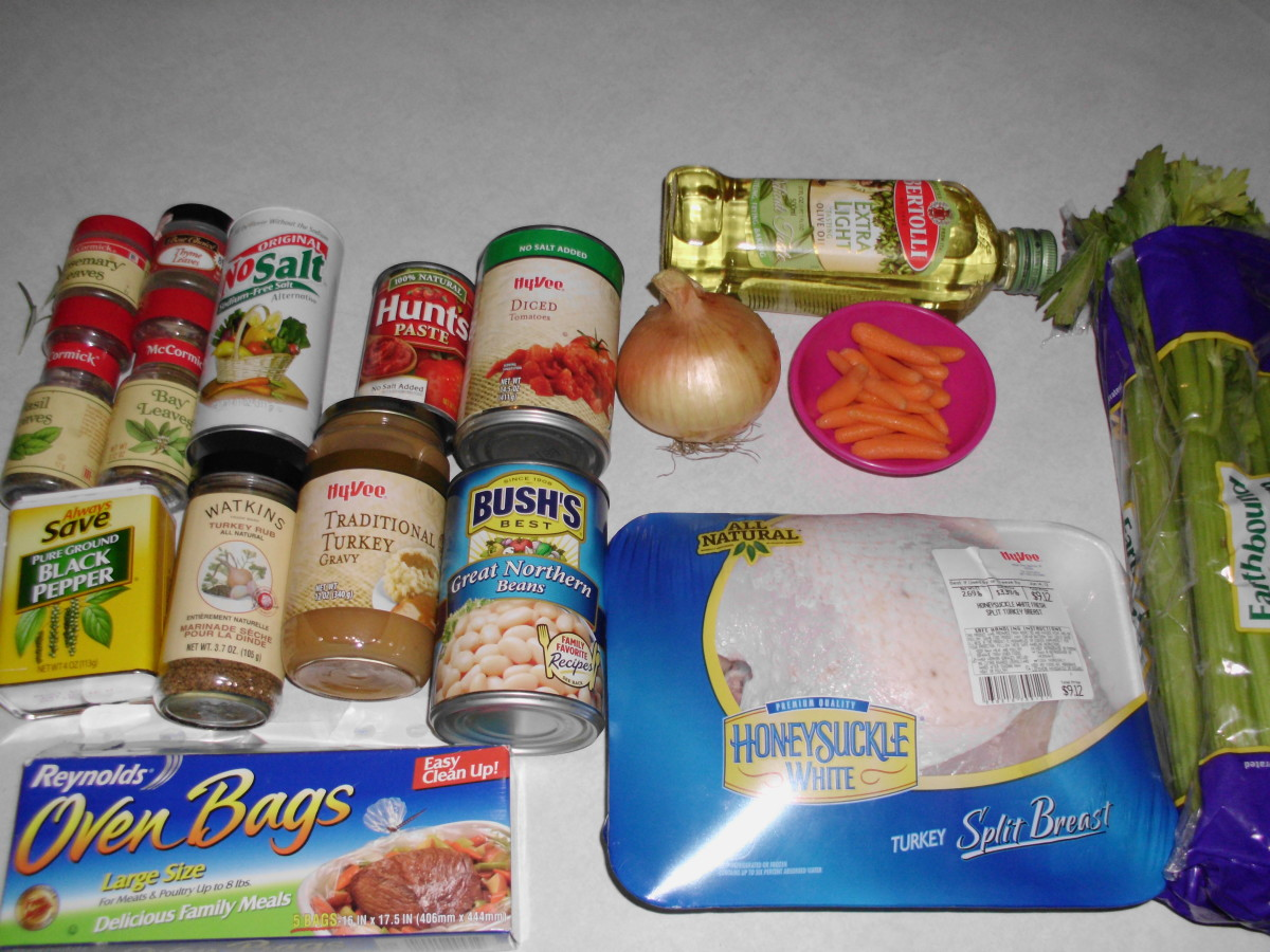 Ingredients for turkey stew with split turkey breast (when left over turkey meat is not available)
