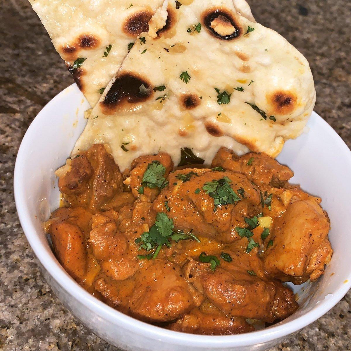 Tandoori roti&chicken curry