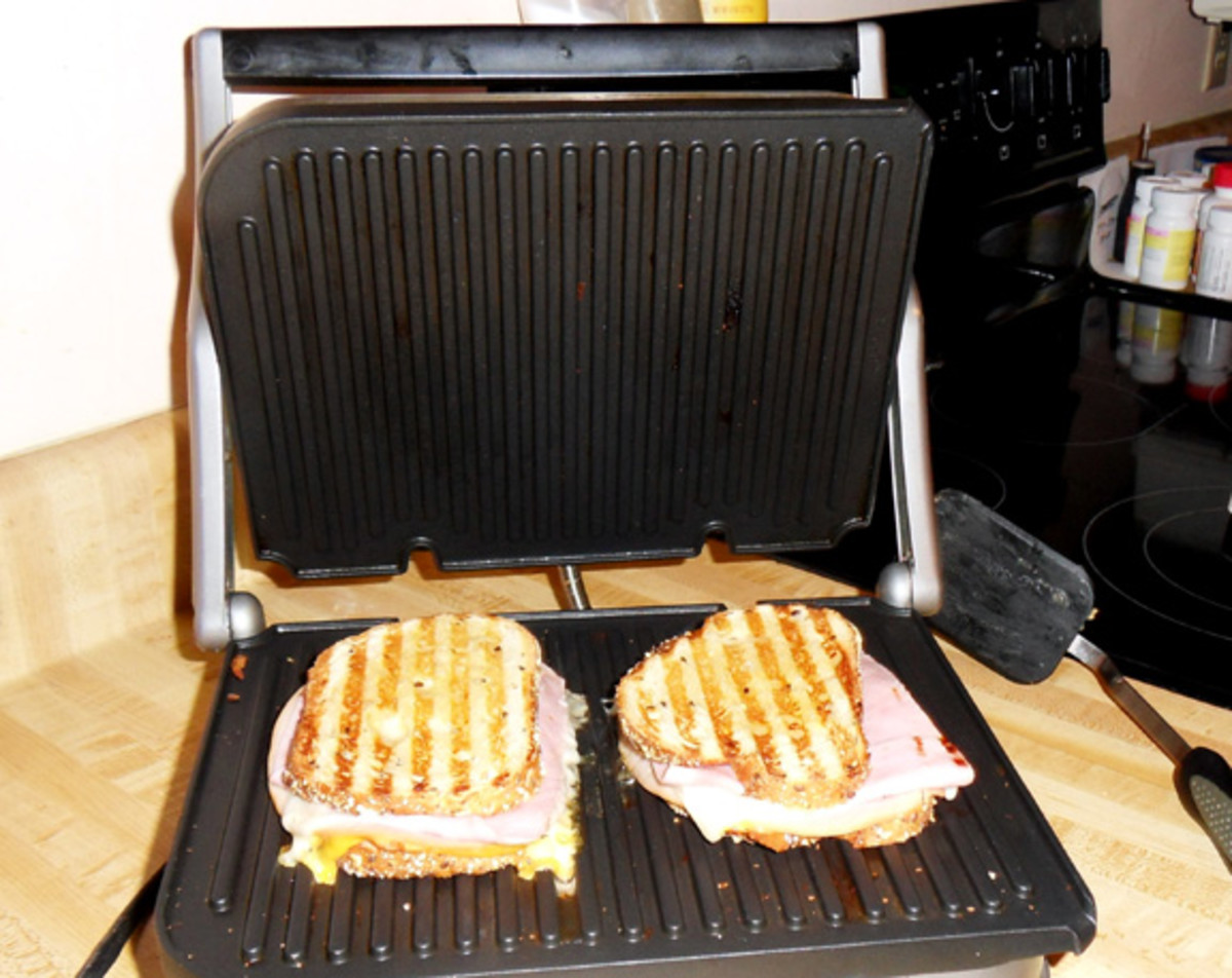 My husband's favorite, just a regular panini grilled ham and cheese sandwich. The cooking plates flip over so you have a smooth and a ridged side.