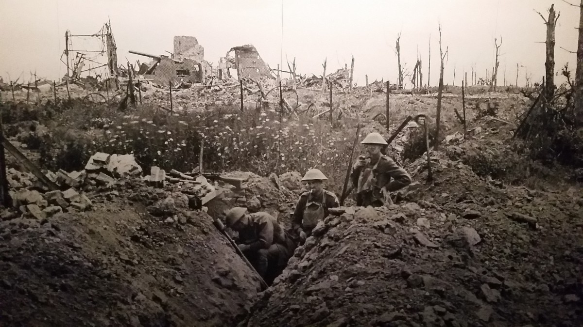 Soldiers in the trenches during the war..